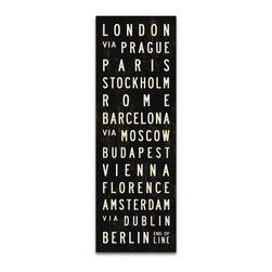 Transit Design - Cities of Europe Subway Sign, 20.5 X 60 - This vintage style tram roll celebrates some of Europe's hottest cities. Inspired by vintage bus scrolls and subway signs.