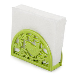 Bird Song Cast Iron Napkin Holder - Lime - Add style and color to your table with this fun and stylish cast iron napkin holder from Core Kitchen