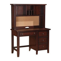 Winners Only - Desk w Hutch in Cherry Finish - Desk with storage drawers. Hutch with shelves. Desk: 44 in. W x 21 in. D x 30 in. H. Hutch: 44 in. W x 11 in. D x 30 in. H