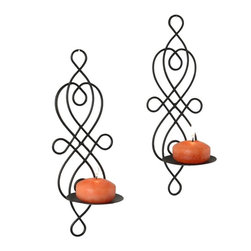 Danya B - Set of Two Twisted Iron Metal Wire Wall Mount Candle Holder Sconces - iron candle holder, wall mount candle holder, wall hung candle holder, filigree candle holder, twisted iron candle holder, pillar candle holder