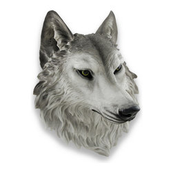 Zeckos - `Remus` Gray Wolf Head Mount Wall Statue Bust 16 In. - This awesome, cold cast resin replica gray wolf wall mount is a prefect addition to any forest themed room. The head measures 16 inches (41 cm) tall, 13 inches (33 cm) wide and 8 inches (20 cm) deep. The detail is incredible, down to the hand painted eyes. This wolf`s head is brand new, and makes a great gift for any wolf fan.