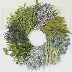 "Frontgate - Impressionist's Wreath - 24"" dia. - Grown, dried, and preserved in the Pacific Northwest, using only natural preservatives. Imaginatively designed and hand-assembled. Secured on a wire frame. Will maintain its fresh-picked appearance year after year. Only display in a covered area away from outdoor elements. As if created by Monet himself, our Impressionist's Wreath features subtle tones and swirling ""brushstrokes"", beautifully blended together. Completing this masterpiece is an assortment of blue larkspur, China millet, echinops, beardless green wheat, Artemisia, orientalis, lavender, and green avena.  .  .  .  .  . Made in USA."