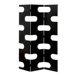 "Benzara - Black Finish Circles Room Dividers Wood 3 Panel Screen 72""H - Black Finish Circles Room Dividers Wood 3 Panel Screen 72""H, 48""W."