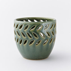 Pierced Ceramic Candleholder, Emerald Crackle - Not only do I love the saturated colors of these candleholders, but the subtle leaf-like patterns are so festive.