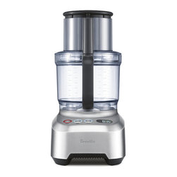 """Frontgate - Breville Sous Chef Food Processor - 1,200-watt induction motor. 5-1/2"""" extra-wide feed chute. 16-cup large-capacity bowl and 2-cup bowl for smaller quantities. Safety locking system. Non-slip feet. The Breville Sous Chef Food Processor boasts a 1,200-watt motor and extra-wide feed chute lets you slice vegetables of most any size with ease. It includes various disc and blade options that make processing faster and easier than ever.  .  . .  .  . Count up/down LCD timer . Includes plastic dough blade, disc spindle, mini blade, micro-serrated S blade, cleaning brush, spatula, five cutting discs, and storage box. 25-year motor guarantee . 120V ."""