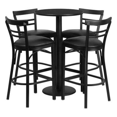 Flash Furniture - Flash Furniture Restaurant Furniture Table and Chairs X-GG-3301BRSR - 24'' Round Black Laminate Table Set with 4 Ladder Back Bar Stools - Black Vinyl Seat [RSRB1033-GG]