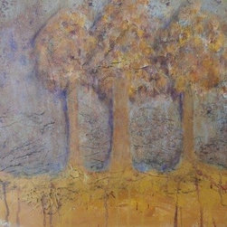"""Spirit Trees (Original) by Anne Jenkins - While travelling in Germany I saw these 3 trees in an autumnal field an misty swirled around them and I thought """"Those are spirit trees"""" so I painted them. Painted on the side, ready to hang but could be framed if desired"""