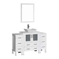 "Bosconi - 54"" Boscnoi AB130S2S Single Vanity, White - Elegance and style are made evident with this 54"" glossy white, Bosconi vanity set. The sharp modern lines are accentuated by the ceramic, square vessel sink and perfectly matching mirror. Features include one center cabinet with soft closing doors and two detached side cabinets with three drawers each. All spacious enough to store your towels, toiletries and bathroom accessories."