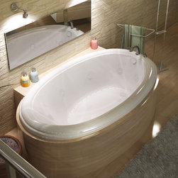Venzi - Venzi Vino 42 x 70 Oval Air & Whirlpool Jetted Bathtub - The Vino series features a classic oval-shaped bathtub design with stylish, ridged edges. The oval bathtub opening allows bathers to enjoy a comfortable bathing experience.