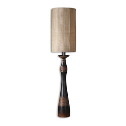 Uttermost - Dafina Aged Black Buffet Lamp - Brighten your buffet with a lamp that can hold its own. Designed by Billy Moon, this unique light fixture boasts smooth curves, a distressed black finish and copper bronze accents. It's got an eccentric — almost tribal — look and feel.