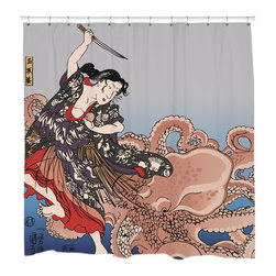 "Sharp Shirter - Battling the Octopus Shower Curtain - ""This curtain is printed in USA!. Hooks sold separately. Disclaimer: If you order multiple items, they may ship from separate locations."""