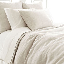 Pine Cone Hill - pinstripe linen duvet cover (dove grey) - Escape to a serene cottage getaway and slip beneath the perfectly patterned covers of our strawberry hill collection featuring delicate pastels, soft linens and casually embellished pillows blending unique patterns and textures with soothing colors in subtle, comforting harmony.  Florals and paisley, pale solids and subtle dots soften the plush appearance of our duvet covers, quilts and shams to create a well-tailored bedroom.