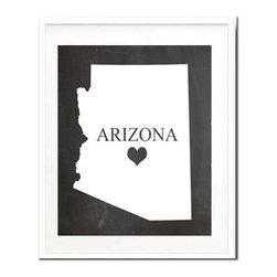 Kshoo Design - Arizonia State Print, Frame Not Included, 8x10 - -Faux chalkboard background