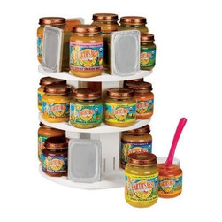 Sassy Baby Food Pantry Organizer - If you have ever tried to stack a bunch of baby food jars in your pantry, you've probably experienced the frustration of them repeatedly tumbling over. A rotating carousel for baby food saves space in the pantry and allows you to easily find what you need.