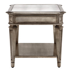 Palais End Table With Shelf - Simultaneously modern yet old world, our gorgeous new Palais Collection includes a broad assortment of pieces that will enhance any room in the house. An eight step finishing process creates an exquisite soft champagne glow that marries silver and gold for a romantic and regal look. Antique mirrored panels finish the top of each piece completing this elegant look. The Palais Collection is exclusive to Z Gallerie.