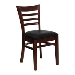 Flash Furniture - Hercules Ladder Back Chair w Upholstered Seat - Set of 2. Ladder style back. 2.5 in. thick 1.4 density foam padded seat. Black vinyl fabric upholstery. Curved support bars. Plastic floor glides. Warranty: 2 year limited. Mortise and Tenon style construction. Metal wood screw reinforcements. Made from solid European beech hardwood. Wooden frame in mahogany finish. Minimal assembly required. Back: 14.5 in. W x 15 in. H. Seat: 16.75 in. W x 16.75 in. D. Seat Height: 19.5 in.. Overall: 20 in. W x 17.5 in. D x 33.75 in. H (30 lbs.)