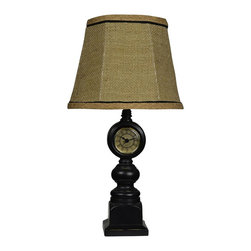 "Lamps Plus - Traditional Tick Tock Antique Clock Table Lamp with Burlap Shade - This beautifully designed table lamp features an antique style clock with a rich dark finish. Topped with a burlap shade this piece adds texture and intrigue to a room. This table lamp is a great choice for adding soft lighting and ambiance to the home.  Antique clock design. Inline switch. Maximum 25 watt bulb (not included). Candelabra bulb type. Burlap shade. Base measures 3.5"" wide 3.5"" deep. Shade measures 6"" wide across the top 9"" wide across the bottom 7"" high. 17 1/2"" high.  Antique-look clock table lamp.  In line switch.  A small table lamp design.  Maximum 25 watt bulb (not included).  Candelabra bulb type.  Burlap shade.  Base measures 3.5"" wide 3.5"" deep.  Shade measures 6"" wide across the top 9"" wide across the bottom 7"" high.  17 1/2"" high."