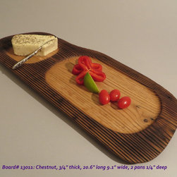 Hand-Carved Chestnut Serving Board $60 SOLD - Functional & Beautiful. These pieces strike a balance between Beauty & Utility, Old & New, Rustic & Refined. Food-bearing surface is smooth, solid & practical. Clean with warm soapy water. FREE 4oz container of 100% FoodSafe BeesWax & Mineral Oil Conditioner with each purchase.