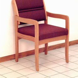 Wooden Mallet - Solid Wood Arm Chair w Soft Upholstered Seat - Fabric: Cabernet BurgundyAn essential addition to your busy office environment, this arm chair offers comfort, style and value. Solid oak framework ensures everlasting durability. Contoured arms and upholstered seat & back combine to give you superior support. Pick fabric color to match any decor. Pictured in Cabernet Burgundy fabric. 1 In. thick solid Oak frame. Extra thick seat and back cushions. Tasteful contemporary styling coordinates with any décor. Minimal assembly required. Built with unique slide brackets, no tools are required. Made in the USA. Complies with California TB 117 fire code. 1-Year limited warranty. Seat: 16.5 in. D x 19.5 in. W x 14.5 in. H . Weight capacity: 400 lbs.. Total height: 19 in.Wooden Mallet's Dakota Wave Valley series standard leg chair is for those who desire a more traditional, elegant look. We've combined handsome solid oak with deep, plush upholstery, to create office furniture that presents a warm welcome to your clients and guests. Choose from a variety of wood colors and upholstery options to compliment your décor or contact us to learn about supplying your own fabric for a custom chair. Choose this chair as part of our complete Dakota Wave collection of coordinating lobby essentials.