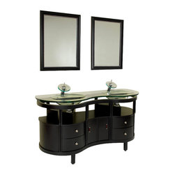 "Fresca - 63 Inch Espresso Modern Bathroom Vanitys - This is a double sink version of the Simpatico Vanity (FVN3330ES). This double sink espresso vanity is really a contemporary twist on baroque furniture.  Clear glass basin and a wide mirror really make this ensemble great for those looking to not just update their bathroom, but keep it classic.  Many faucet styles to choose from.  Optional side cabinets are available. Dimensions: 63""W X 21.63""D X 33.75""H (Tolerance: +/- 1/2""); Counter Top: Tempered Glass Countertop/Sink; Finish: Espresso; Features: 2 Doors, 4 Drawers, Soft Closing; Hardware: Chrome; Sink(s): 18""x11.5""x5"" Clear Tempered Glass Sink, No Overflow; Faucet: Pre-Drilled for Standard Single Hole Faucet (Included); Assembly: Light Assembly Required; Countertop, Sink, Cabinet Not Attached; Large cut out in back for plumbing; Included: Cabinet, Sink, Choice of Faucet with Drain, Mirror (23.63""W x 31.5""H); Not Included: Backsplash, Medicine Cabinet (14""W x 14""L x 23.5""H (Optional))"