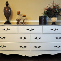 French Provincial Dresser with 7 Drawers in White by Chic Furnishings by Heather - Oooh la la! I would love how this chic French Provincial dresser would look with crisp black and pink accents. It's a dresser for a girl with a totally huge wardrobe.