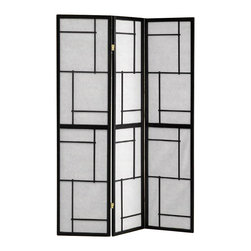 Coaster - Coaster Three Panel Screen Room Divider in Black - Coaster - Room Dividers - 900102 - The Coaster Collection of folding screens are a simple elegant way to divide a room. Room dividers are great for dorm rooms bedrooms and other areas that need dividing or privacy solutions - also useful for creating separate spaces in a shared home office. Add instant decor and privacy to your home with this beautiful floor screen from Coaster.