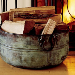 """Copper Bucket - Add some old world style to your hearth with this beautiful handcrafted copper log bucket.Handcrafted by master metalworkers22.5 x 24.5 x 12"""" h."""