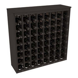 Wine Racks America - 64 Bottle Deluxe Wine Rack in Ponderosa Pine, Black Stain - Styled to appear as wine rack furniture, this wooden wine rack will match existing decor while storing 64 bottles of wine. Designed to look like a freestanding wine cabinet, the solid top and sides promote the cool and dark storage area necessary for aging wine properly. Your satisfaction and our racks are guaranteed.