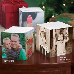 """Exposures - Custom Photo Note Cube - Overview This clever custom photo notepad is great for your desk or giving as a gift. Upload up to 3 images, and we will transfer them onto three sides of a notepaper cube. When ordering, you may order personalized note cubes in black & white, color or sepia. Made in the USA. Express Shipping available.  Ordering Instructions: Choose """"Single Picture"""" from the drop down menu Click """"add to bag"""" After clicking """"add to bag,"""" you will be taken to our online design tool where you will have the option to place one photo on all 3 sides for a single photo look, or place a different photo on all 3 sides for a multi-photo effect. You decide!  No returns on personalized items unless the item is damaged or defective"""