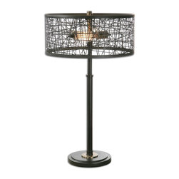 Uttermost - Alita Black Drum Shade Lamp - Rustic black metal base and a matching shade made of messed metal strips accented with plated antiqued gold details. Two antique style bulbs included.