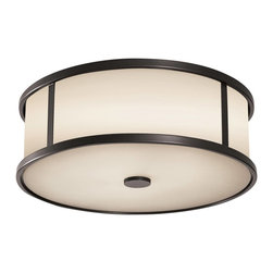 Murray Feiss - Murray Feiss Dakota Flush Mount Outdoor Lighting Fixture in Espresso - Shown in picture: Dakota Outdor Lighting in Espresso finish with Aged Oak�Glass