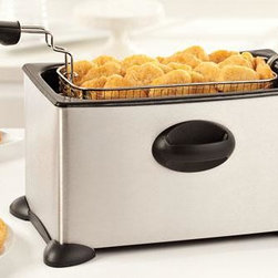 Home Decorators Collection - Deep Fryer - Our Deep Fryer will help you make crispy French fries, chicken wings, egg rolls, and more. Perfect for entertaining or for meals at home, the fryer includes an easy view window to help you monitor the food as it cooks. Comes apart for easy cleaning and the non-slip feet ensure that the fryer stays in place. Adjustable temperature control. Silver. 3.5L capacity. Breakaway plug.