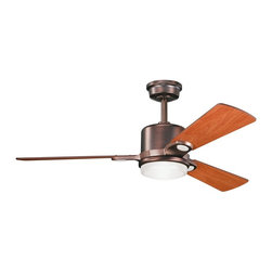 "DECORATIVE FANS - DECORATIVE FANS Celino 48"" Contemporary Ceiling Fan X-BBO710003 - From the Celino Collection, this Kichler Lighting ceiling fan features a warm Oil Brushed Bronze finish with complimentary reversible walnut or cherry fan blades and a clean, contemporary glass shade with a white cased opal interior and clear glass exterior."