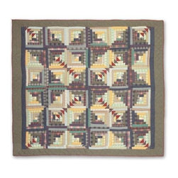 Patch Quilts - Wild Goose Log Cabin Twin Quilt - -Constructed of 100% Cotton  -Machine washable; gentle dry  -Made in India Patch Quilts - QTWGLC
