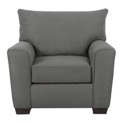"Klaussner - ""Klaussner Heather Chair, Charcoal"" - ""The contemporary and casual elements of the Heather Collection offers stylish flare with track arms that have shape and welted details. Four back pillows and two arm pillows are surrounded in welt and provide comfort with support. Clean lines combined with curves makes the Heather fitting for any room. Dimensions: 41"""" long x 37"""" deep x 40"""" high; Weight: 79 poundsSeat Depth: 23""""Seat Height: 21""""Distance between arms: 23"""