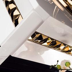 Topex Armadi Art Avantgarde Brillante - Topex Armadi Art Avantgarde, White And Gold Vanity, With Gold Under Mount Sink, Gold Under Mount Sinks, White And Gold Bath Furniture, White Vanities, Gold Bathroom Vanities.