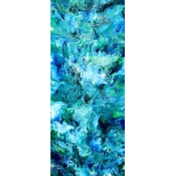 """The Sea (Original) by Eric Siebenthal - The Sea was painted for a Museum Lobby Art Show.  I wanted something very simple for this show.  All the same length.. Slim Vertical Pieces.  So we have the """"Elemental Series"""".  I love the ocean. I lived in Hawaii for 10 years or so at one point in my life, so was an absolute fish.  I will always have a  love for the ocean and will always want to be in it! This is another must to be in the Elemental Series. My work does sell for $120 a square foot right now,. In a gallery these are selling for $360. So this size painting at this price may be an exclusive to """"Vango""""."""