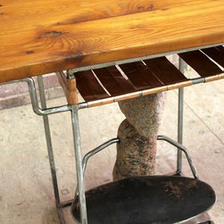 """Abstract """"rock"""" desk - What's a desk without a bit of whimsy?!  This perfect small desk is just what the Dr. ordered if you are looking for a desk or end table that's practical and simultaneously decorative.  That's exactly what our welder did when combining multiple natural elements into this one design.  The old pine top is perfectly paired with the copper shelf and raw steel legs and is the just the right size for anyone with a lap top.   The stone sculpture below adds the subtle touch of whimsy that makes this one of a kind.   Size seen:  40""""l x 17""""w x  28""""h."""