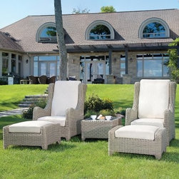 Napoleon Sheffield Lounge Set - It will only take but a moment to reach your summer get-away when it's sitting right outside your back door in the form of the Napoleon Sheffield Lounge Set. Sturdy, heavy-gauge aluminum frames give shape and strength to all five pieces in this set from the lounge chairs with matching ottomans to the convenient side table. Each piece is covered in weather-resistant 5mm wicker in a neutral Seagrass color. Thick, luxurious Ecru cushions keep these high back chairs and spacious ottomans extra comfortable. Cushions are constructed of high-density foam with a Polycrylic fabric cover. Rest your favorite drink on the 5mm thick clear tempered inset glass on the side table.