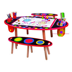 Alex Super Art Table - Your little one and a friend can explore their artistic abilities with this bright and fun art table. It features multiple storage compartments, a paper roll underneath and a chalkboard tabletop. It's stylish and made out of wood too.
