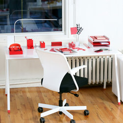 Flatiron Desk, Red Accents - A desk so dreamy it's like working on a cloud.