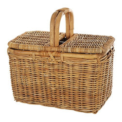 Eco Displayware - Medium Rectangular Picnic Rattan Basket in Na - Great for closet, bath, pantry, office or toy and game storage. Earth friendly. 19 in. L x 12 in. W x 18 in. H (14.92 lbs.)These natural colored baskets add warmth and charm and keep you organized.