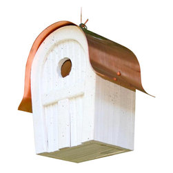 Heartwood - Twitter Junction Bird House White - This  beautiful  bird  house  is  the  perfect  addition  to  any  home  or  garden  of  your  choice.  Unplug,  unwind,  send  cyberjams  to  Siberia.  Time  for  a  world  where  tweets  are  the  real  deal,  and  where  Twitter  is  the  frist  name  in  the  birding  delight  of  Twitter  Junction.  Sturdy  construction  featuring  copper  roof  and  slatted  cypress  front  means  these  beauties  will  be  in  business  long  after  current  fads  have  come  and  gone.  This  bird  house  is  one  you  are  sure  to  enjoy  in  the  years  to  come.                    6x7x10              1-13/8  hole              Available  in  yellow,  blue,  grey,  redwood  and  white              Handcrafted  in  USA  from  renewable,  FSC  certified  wood