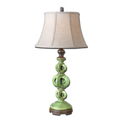 Uttermost - Civita Crackled Green Table Lamp - Traditional or contemporary, you won't miss with this gorgeous crackled green ceramic table lamp. The base is punctuated with rust distressing and chocolate brown details. It's a stunner. And that's before you turn it on!