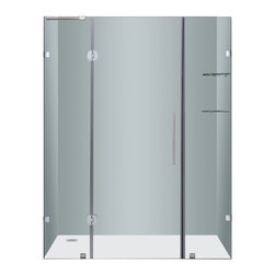 "Aston - Aston 60x75, Completely Frameless Hinge Shower Door with Shelves - Instantly transform your existing shower alcove space and upgrade your bath's design with the SDR983 60"" Completely Frameless Hinge Shower Door. Constructed of durable 6mm ANSI-certified tempered clear glass and chrome or stainless steel finish hardware, you can achieve a custom-look in your bath. Deluxe clear seal strips prevent leakage which allows for this completely frameless design. The SDR983 also includes two interior glass shelves designed with convenience and functionality in mind. This model is configured for reversible left or right hand door installation and can be paired with an optional left, center or right configured 2.5"" low profile acrylic fiberglass enforced base."