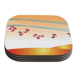 """Kess InHouse - Fotios Pavlopoulos """"Nature Music"""" Orange White Coasters (Set of 4) - Now you can drink in style with this KESS InHouse coaster set. This set of 4 coasters are made from a durable compressed wood material to endure daily use with a printed gloss seal that protects the artwork so you don't have to worry about your drink sweating and ruining the art. Give your guests something to ooo and ahhh over every time they pick up their drink. Perfect for gifts, weddings, showers, birthdays and just around the house, these KESS InHouse coasters will be the talk of any and all cocktail parties you throw."""