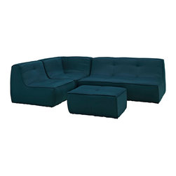 Modway - Align 4 Piece Upholstered Sectional Sofa Set EEI-1289 Azure - There are sectional sets that claim to be modern by portraying some enlightened path forward. But for every one of these efforts, is an equal and opposite reaction. The more we use our own guile to paddle forward, the more the stream of present reality seems to rush against us. Align was designed as an attempt to wash away those hindrances that obstruct growth. If there had been a choice, the designers would have kept Align just that. But while a sectional sofa set needs to be made curved, the intent was to stay true to the original concept. Align comes generously padded and upholstered in fine fabric, with slight button tufting and trim for only the gentlest effect.
