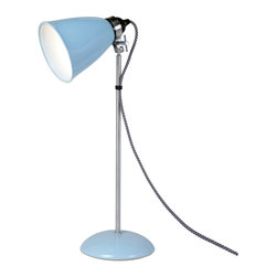 Original BTC - Hector Medium Table Light - Blue - Original BTC - A British design classic in translucent bone china. With its movable shade and smart cotton braided flex, the Hector table light perfectly marries style and function. The fine bone china is very attractive unlit and gives a wonderful ambient light when illuminated. The shades are slipped cast and hand-finished by skilled craftsmen. Manufactured in a factory in the UK dedicated to green manufacturing practices.