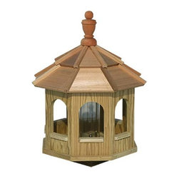 Fifthroom - Greyfield Gazebo Birdfeeder - Birds with discriminating tastes prefer to take their meals at our Greyfield Gazebo Birdfeeder.  Designed after the beautiful gazebos that are so popular among humans, in the bird world, it's tantamount to belonging to an exclusive country club.  A status symbol like this is very important to image-conscious birds that travel only in the most elite circles.  Well, of course, they don't literally travel in circles, because if they did, they'd never make it to warmer climes before winter, and they'd freeze.  Right?
