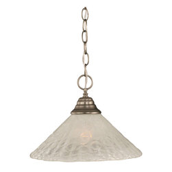 "Toltec - Toltec 10-BN-441 Brushed Nickel Finish Chain Hung Pendant - Toltec 10-BN-441 Brushed Nickel Finish Chain Hung Pendant with 12"" Italian Bubble Glass"